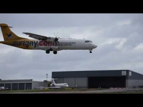 ATR 72 from Aurigny Air Services landing Guernsey Airport, Channel Islands, HD and full screen