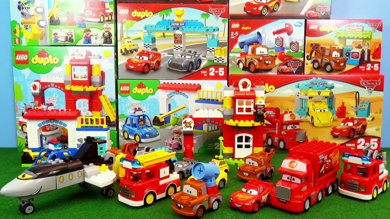 Lego Duplo Cars Fire Truck Toys Police Car Unboxing Storm Race Crash Fire Station Toy Fire Trucks