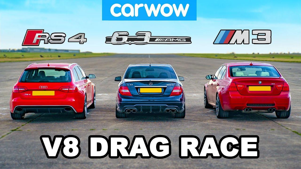BMW M3 v AMG C63 v Audi RS4: V8 DRAG RACE