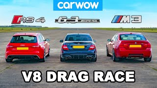 BMW M3 v AMG C63 v Audi RS4: V8 DRAG RACE