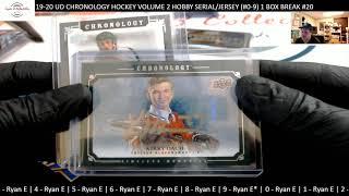 SAD SO SAD 19-20 UD CHRONOLOGY HOCKEY VOLUME 2 HOBBY SERIALJERSEY #0 -9 1 BOX BREAK #20