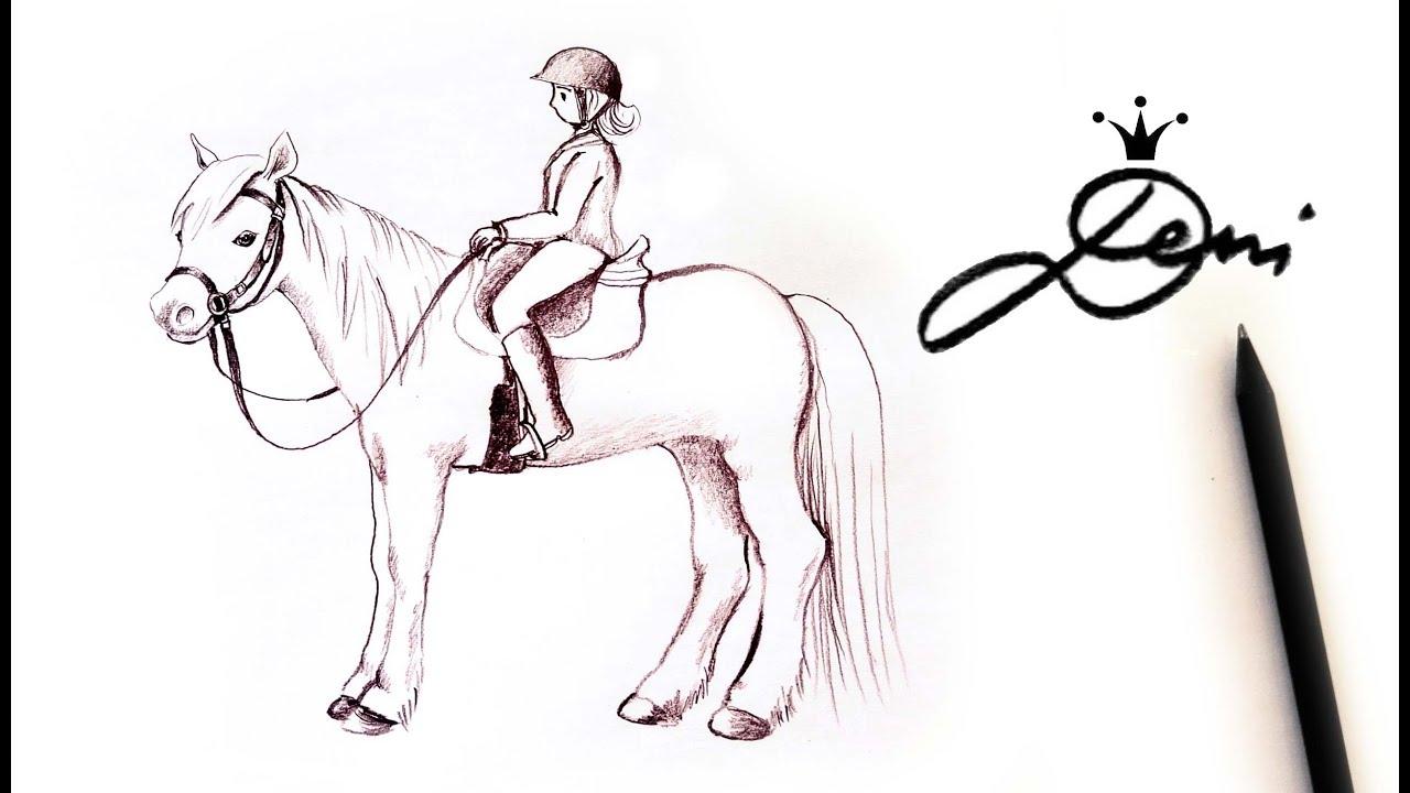 Pferd Mit Reiter Zeichnen Lernen Mit Bleistift How To Draw A
