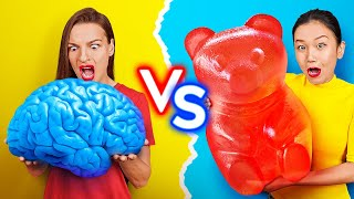 GUMMY FOOD VS REAL FOOD CHALLENGE! Eating World's Largest Gummy Brain! Fun Prank by 123 GO!Challenge