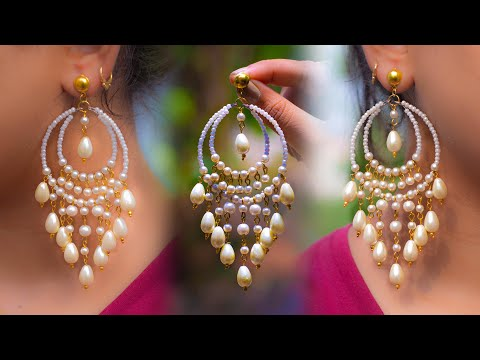 Easy Long Pearl Earring Design | DIY | 5 min Craft | Hand made jewelry | Art with Creativity