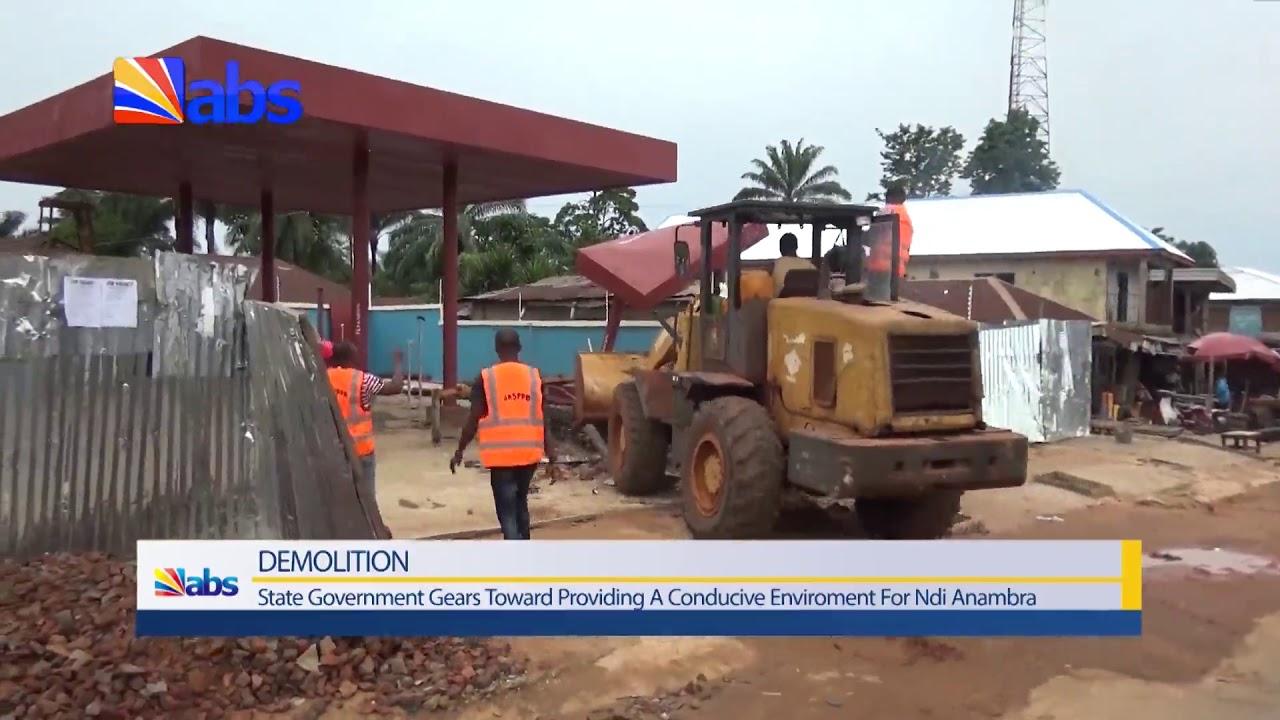 Anambra Govt  Knocks Down Petrol Station At Igbo Ukwu