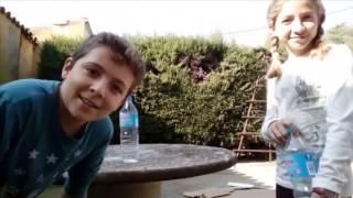 MI CARA!!!!! WATER BOTTLE FLIP CHALLENGE (CON MI HERMANA)