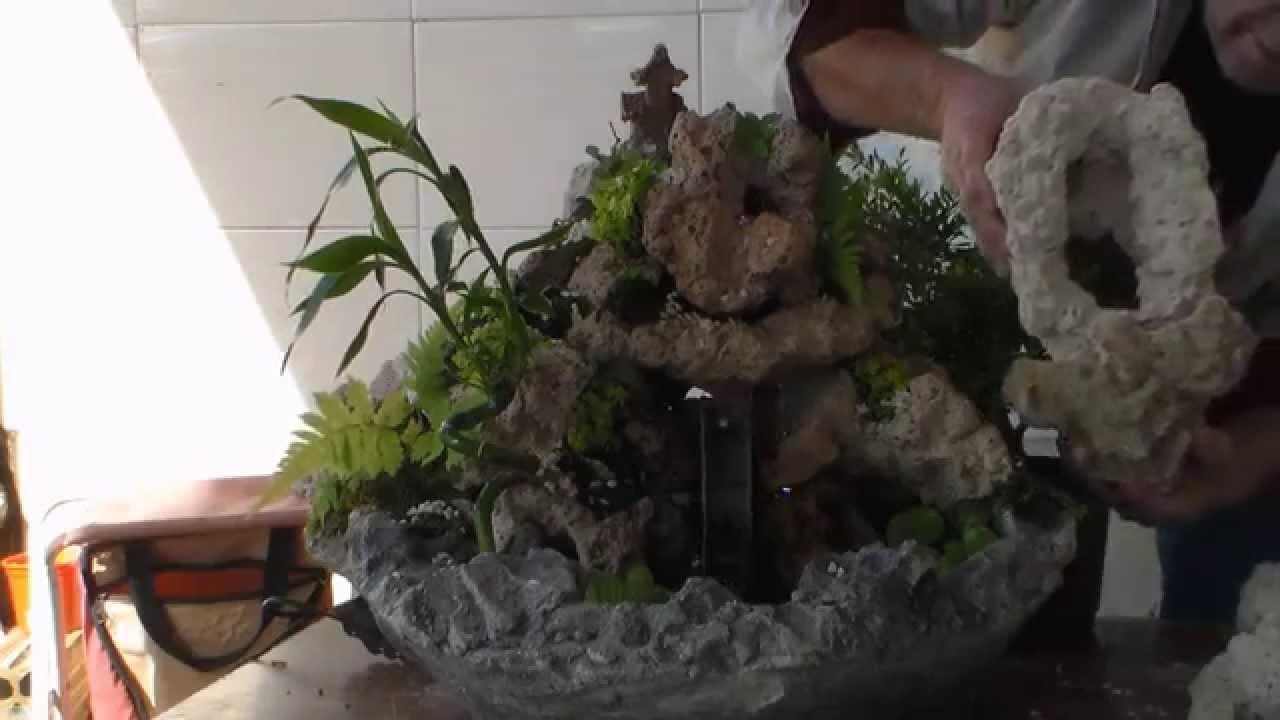 Como fazer uma fonte com pedras artificiais ecológicas  YouTube