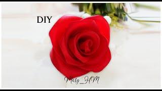 Простая роза из атласных лент. Мастер класс.