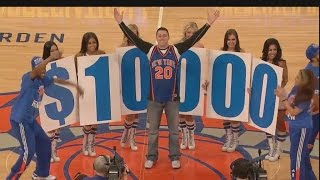 New York Knicks Fan Hits half court shot for $10,000!
