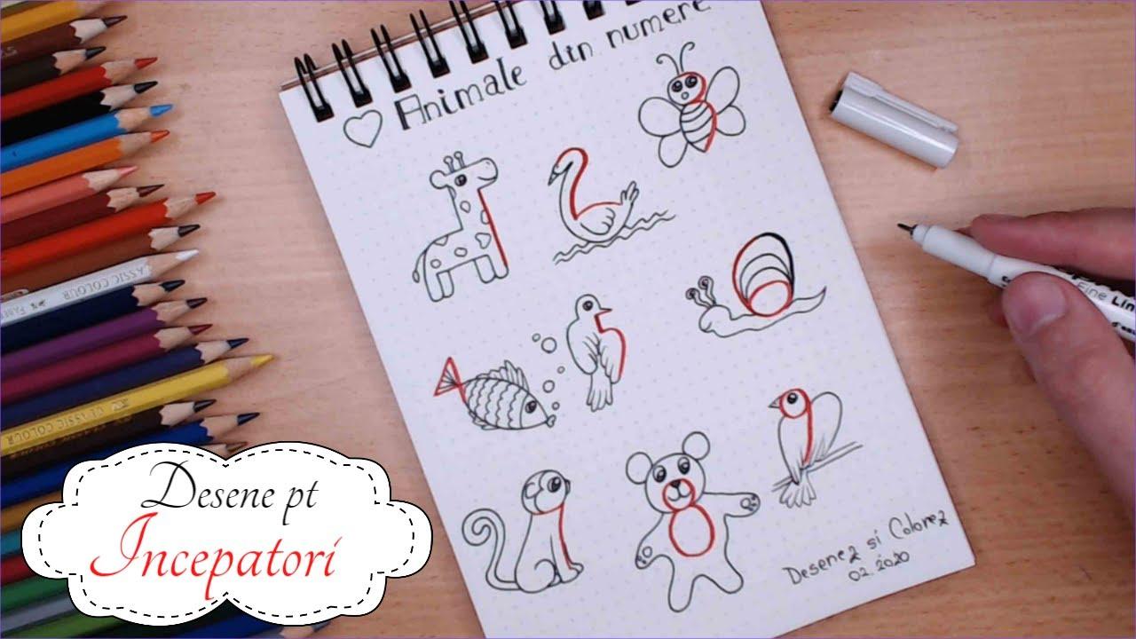 Desenez Animale din Numere de la 1 la 9 || Desene Simple Incepatori