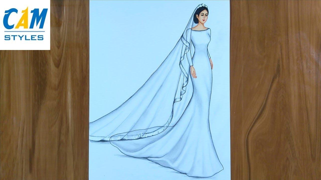 Wedding Dress Drawing   How to draw a wedding girl   Girl Drawing