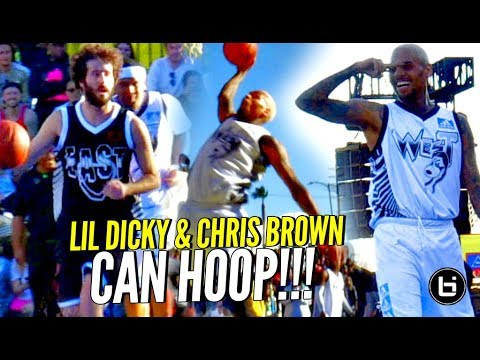 Chris Brown & Lil Dicky CAN HOOP!!! Chris Brown's Got BOUNCE & JELLY Too! Full Highlights!