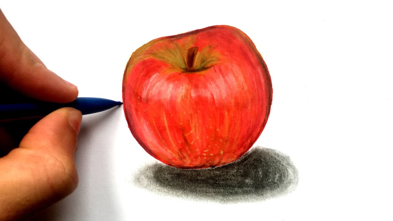 Comment dessiner une pomme r aliste youtube - Dessiner un fruit ...