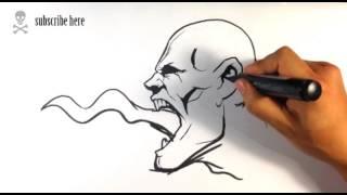 Drawing a Tongue Zombie - Draw Tattoo Art