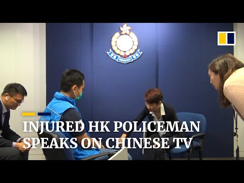 Chinese state media interviews Hong Kong police officer shot with an arrow during protests