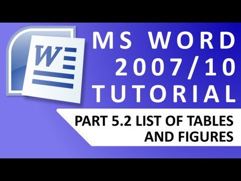 MS Word Tutorial #5.2 List of Tables/Figures