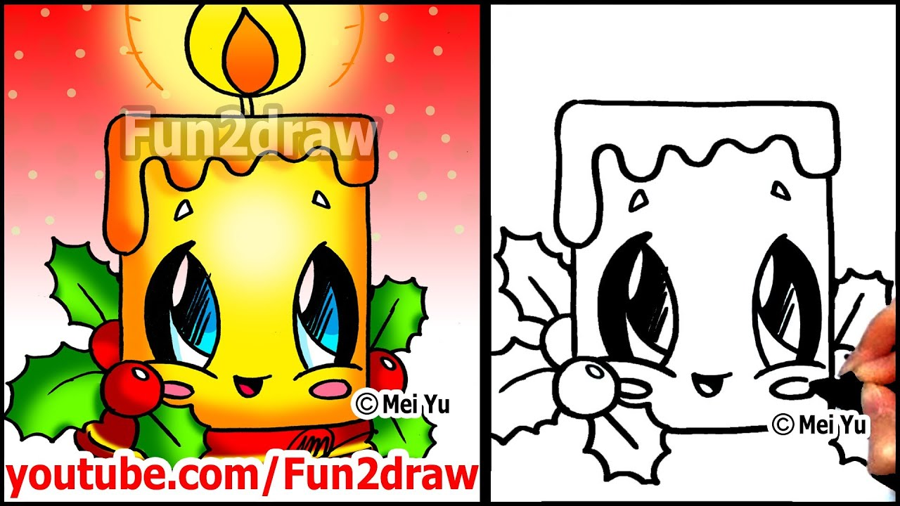 how to draw christmas pictures candle holly decoration