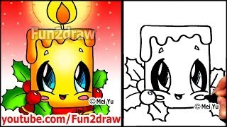 How To Draw Christmas Pictures Candle Holly Decoration Fun2draw Easy Cartoons Vloggest