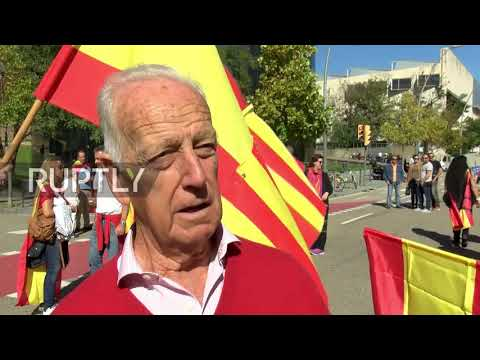Spain: Nationalists rally outside army building in Barcelona to support state security forces