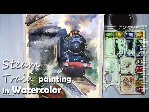 How to Paint A Steam Engine Train in Watercolor | step by step