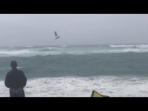 Kite surfers having fun in Juno Beach