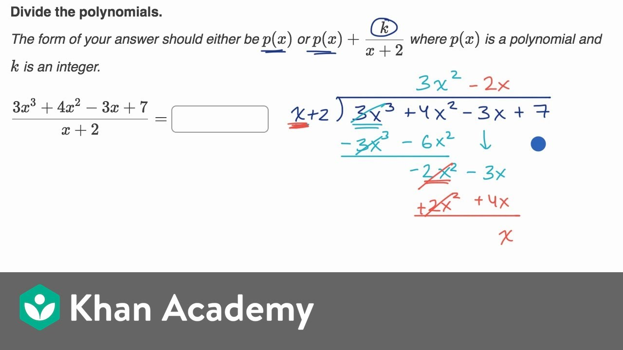 medium resolution of Dividing polynomials by linear expressions (video)   Khan Academy