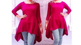 How to make trendy leganlook tunic top , pattern , cutting & stitching