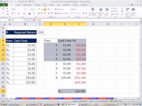 Excel Finance Class 61: Stock Value Based on Present Value of Future  Dividend Cash Flows
