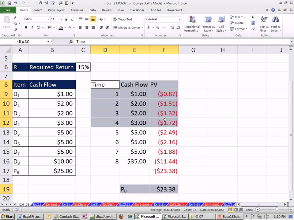 Excel Finance Class 61 Stock Value Based On Present Value Of Future