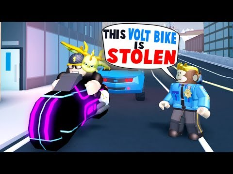 GETTING PULLED OVER IN JAILBREAK!! *STOLEN VOLT BIKE* (Roblox)