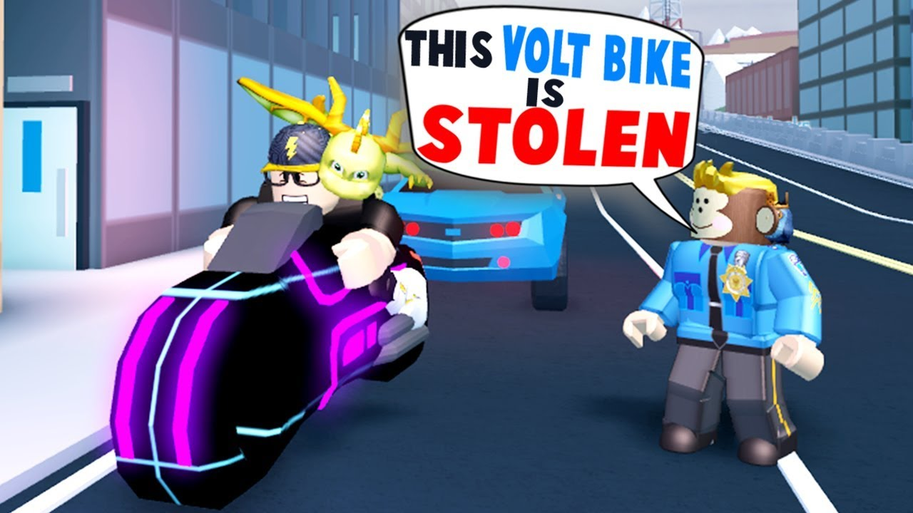 If You Catch My Volt Bike Take My Money Roblox Jailbreak Getting Pulled Over In Jailbreak Stolen Volt Bike Roblox Youtube