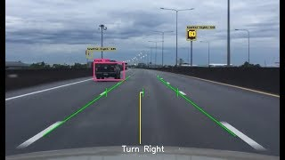 Lane detection and object detection with OpenCV & TensorFlow