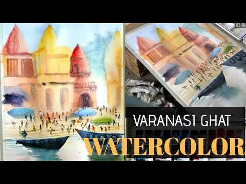Varanasi ghat- human figures composition with watercolor