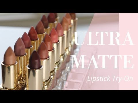 trying-on-every-lipstick:-l'oréal-ultra-matte-highly-pigmented-lipsticks-|-bailey-b.