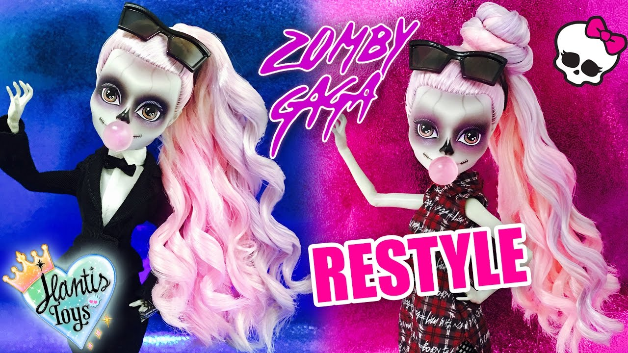 Styling Doll Hair How To Fix & Curl Zomby Gaga Doll Hair Restyle Tutorial  Monster .