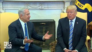 President Donald Trump holds a meeting with Israeli Prime Minister Benjamin Netanyahu in the Oval Office at the White House., From YouTubeVideos