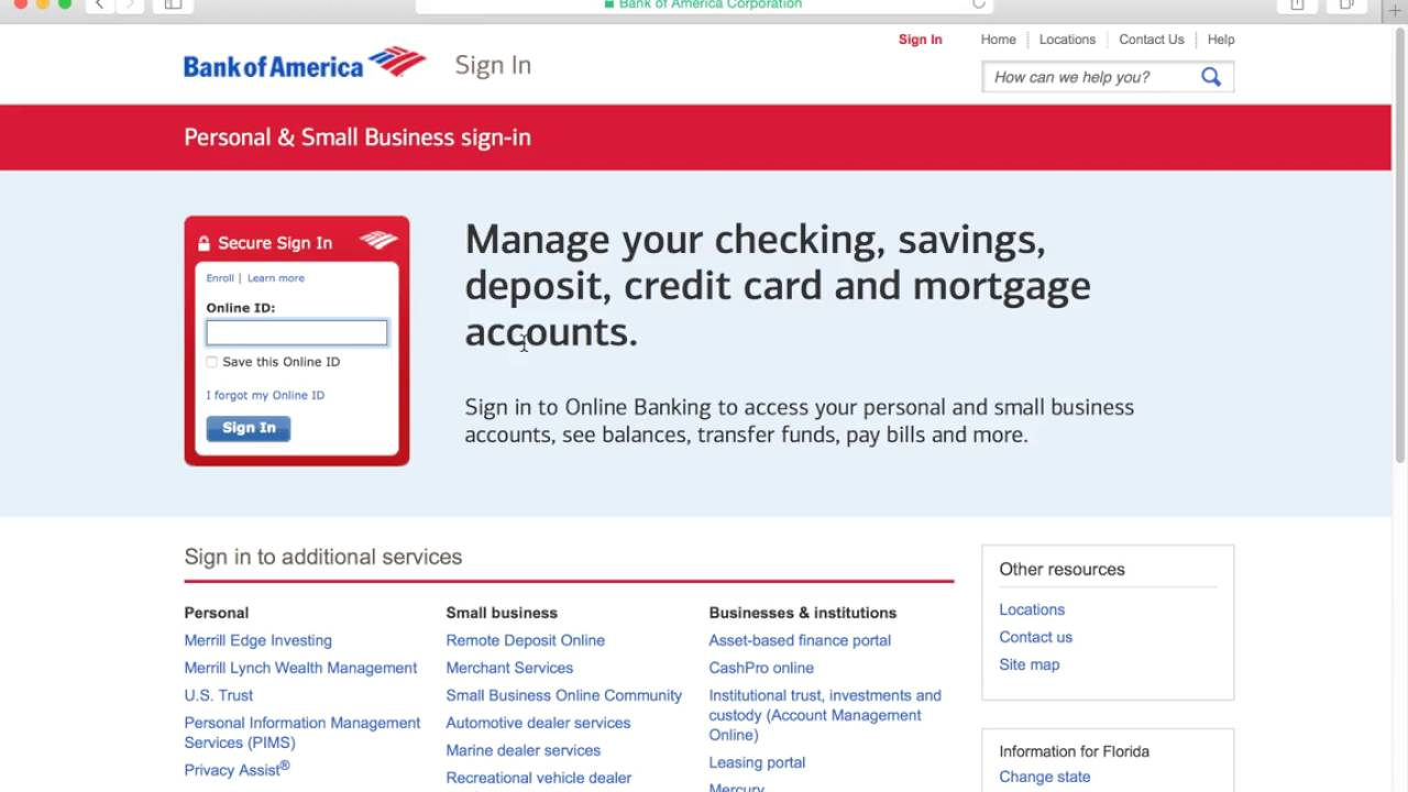 Bank Of America Online Banking Login Instructions Youtube
