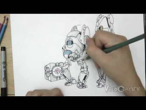 How to Draw Atlas and P-body+Companion Cube (Portal 2)