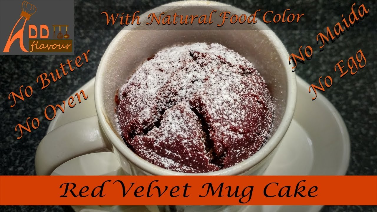 Eggless Red Velvet Mug Cake without microwave( With Atta and ...
