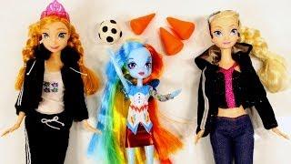 Rainbow Dash Vs Elsa and Anna Disney Frozen Play Doh Soccer Match Equestria Barbie Dolls