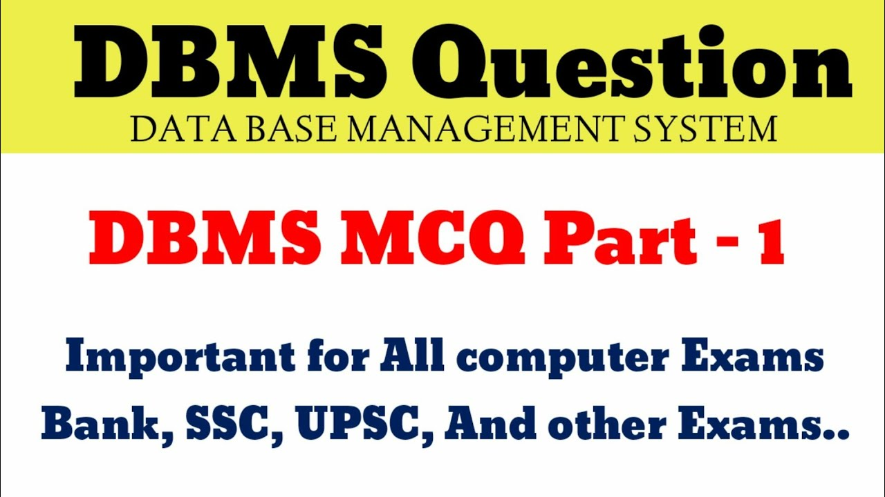 Dbms Mcq Questions And Answers Pdf