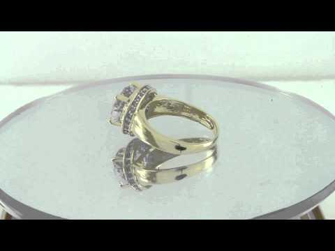 Estate 4.50ct Diamond & Pink Amethyst 14K Yellow Gold Halo Ring