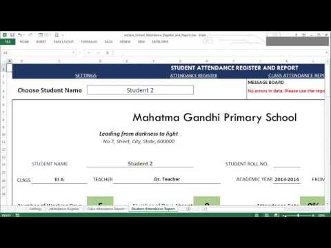 School Attendance Register and Report (Excel Template)