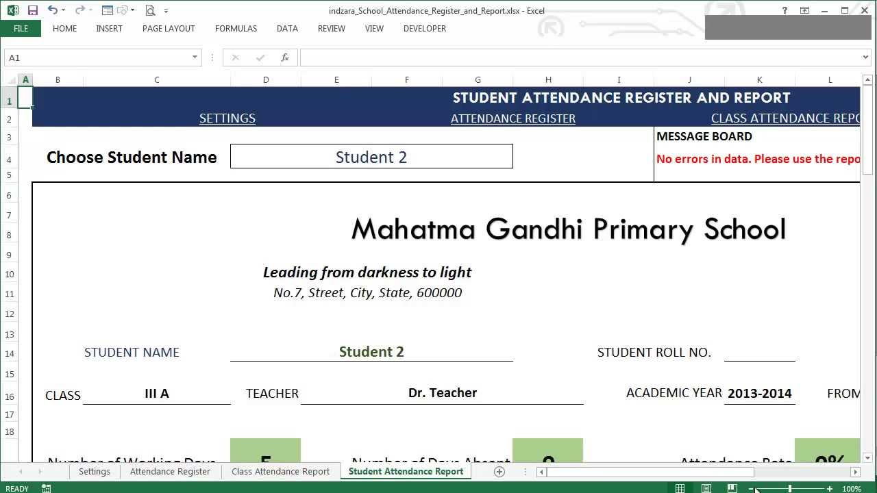 school attendance register and report excel template