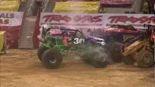 Monster Jam - Dennis Anderson and Grave Digger Monster Truck Freestyle from Arlington, TX - 2012