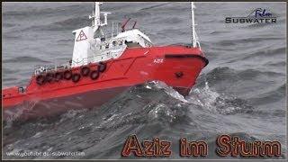 """Sturm auf (dem) See - R/C Offshore Versorger """"Aziz"""" kämpft in schwerem Wetter gegen die Wellen"""
