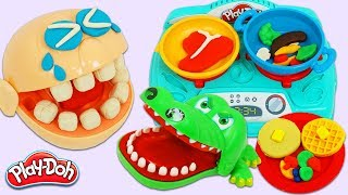 Toy Crocodile Steals Mr. Play Doh Head's Play Dough Stove Top Cooked Food!