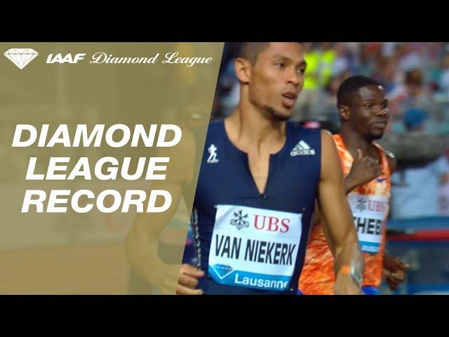 Wayde van Niekerk runs 43.62 in the Men's 400m - IAAF Diamond League Lausanne 2017