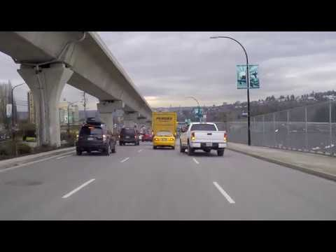 Driving From Coquitlam BC Canada To Burnaby To Vancouver - Lougheed Highway - Skytrain Route