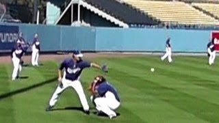 Dodger Kenley Jansen Has His Life Saved While Warming Up & Getting Pitching Lessons - Dodger Stadium